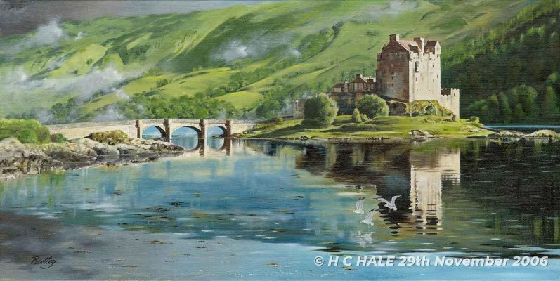 Eilean Donan from NW - Watercolour/Gouache with Conte painting by artist Kenneth Padley