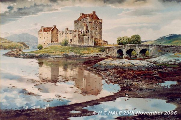 Eilean Donan from SE - Watercolour/Gouache with Conte painting by artist Kenneth Padley
