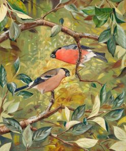 Bullfinches - Watercolour/Gouache with Conte painting by artist Kenneth Padley