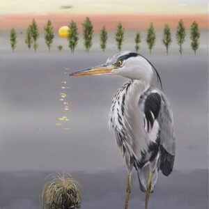 Heron - Watercolour/Gouache with Conte painting by Kenneth Padley