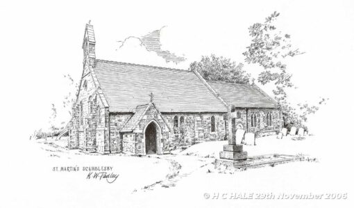 St. Martins Church, Scamblesby - Pencil drawing by Kenneth Padley