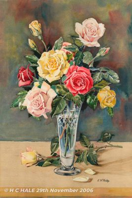Still life with Roses - Watercolour/Gouache with Conte painting by Kenneth Padley